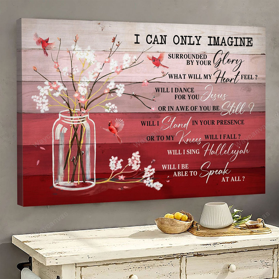 Cardinal and flower I can only imagine Jesus canvas print