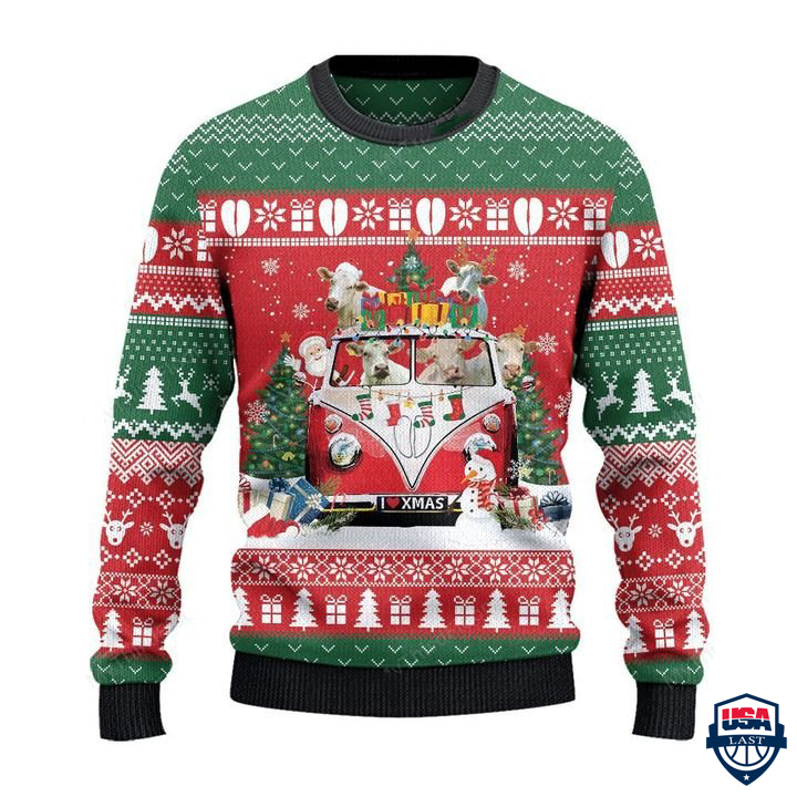 Charolais Cattle Lovers Christmas Van All Over Print Sweater