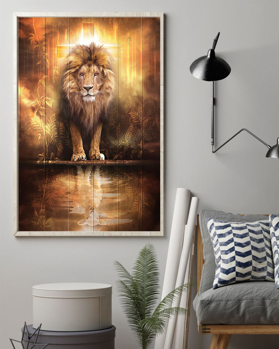 Cross Lion Lamb reflection poster