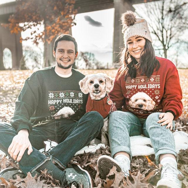Custom Face Merry Christmas Sweatshirt Dog Sweater Cat Sweater