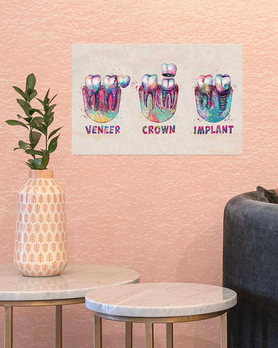 Dentist colorful teeth veneer crown implant poster