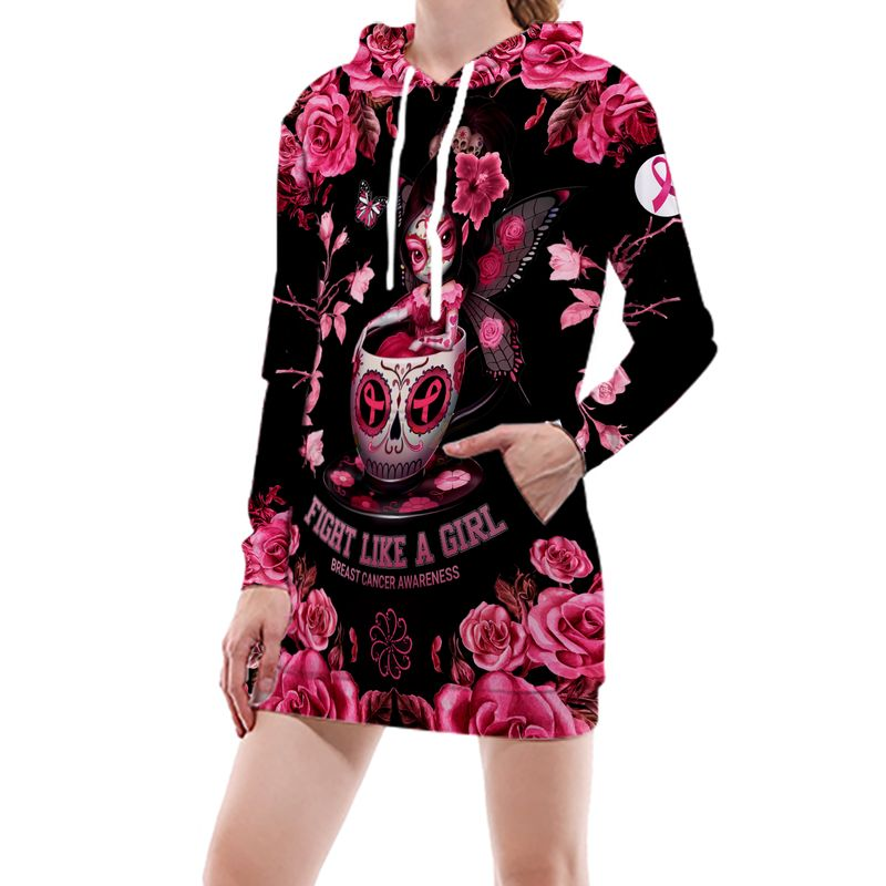 Fight Like A Girl Breast Cancer Awareness Sugar Skull Fairy In Tea Cup 3D Full Print Shirt
