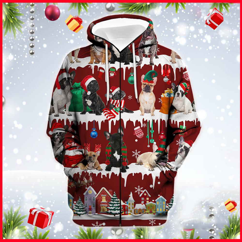 French Bulldog Snow Christmas 3D Ugly Sweater