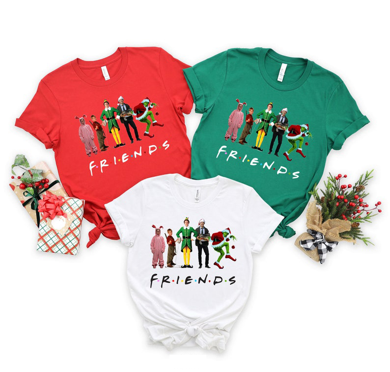 Friends Grinch Santa Ralphie Clark Griswold Cousin Eddie Kevin McAllister Christmas Shirt, Sweatshirt And Hoodie