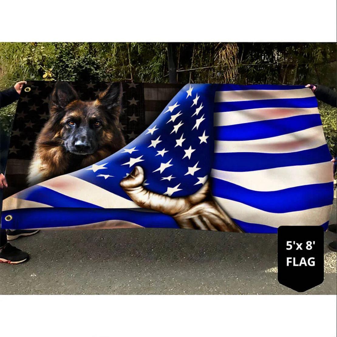 German Shepherd Police Dog K9 The Thin Blue Line Flag