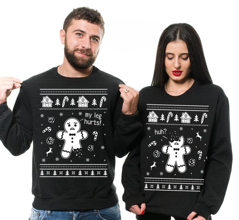 Gingerbread Cookies My Leg Hurts Ugly Christmas Couples Sweatshirt