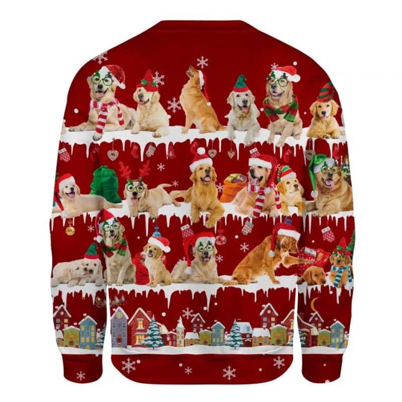 Golden Retriever Snow Christmas 3D Ugly Sweater