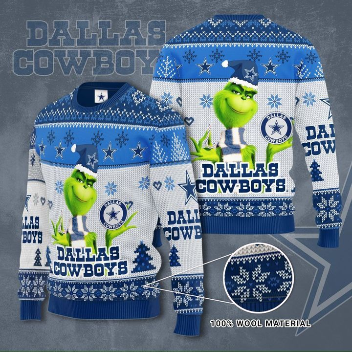 Grinch Dallas Cowboys 3D Ugly Christmas Sweater