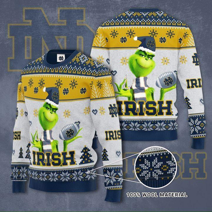 Grinch Hug Notre Dame Fighting Irish football 3D Ugly Christmas Sweater