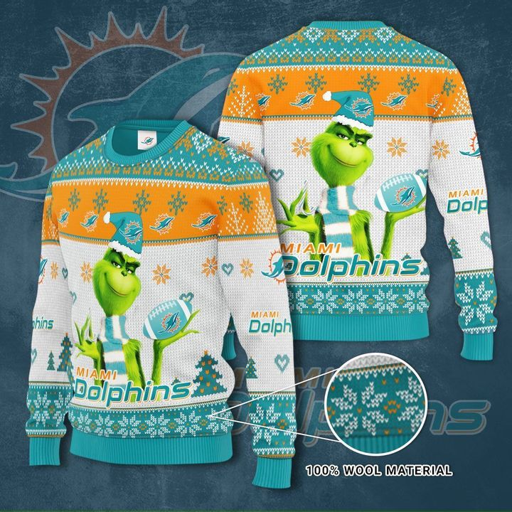 Grinch Miami Dolphin 3D Ugly Christmas Sweater