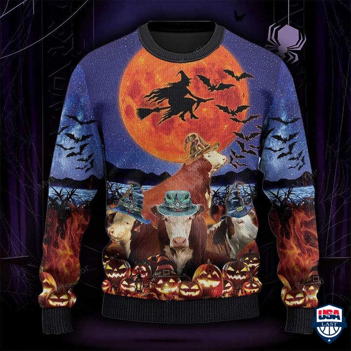 Hereford Cattle Lovers Halloween Moon All Over Print Ugly Sweater