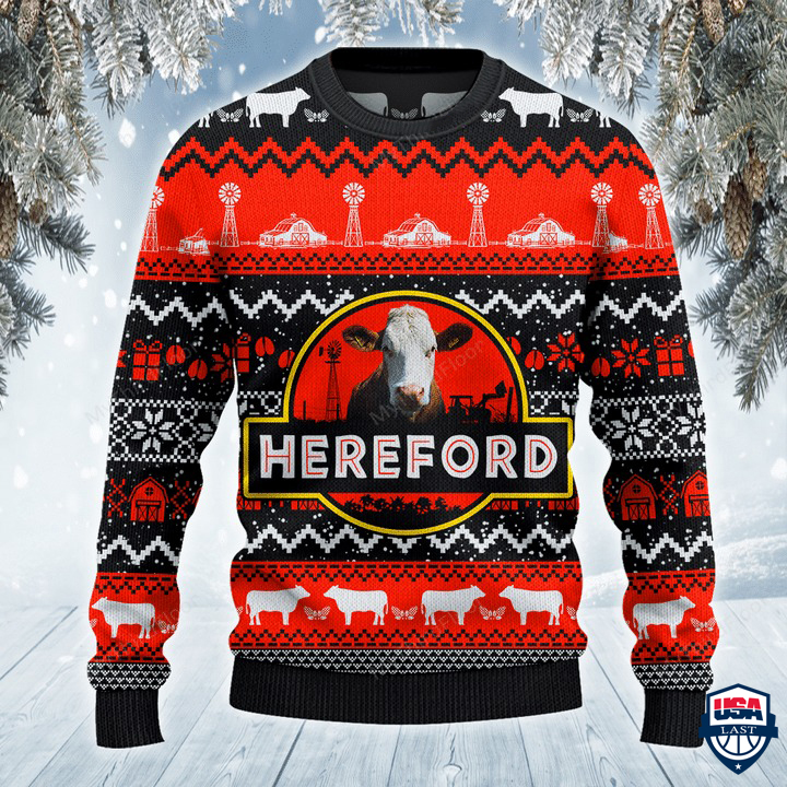 Hereford Cattle Lovers Red Black Pattern All Over Print Sweater