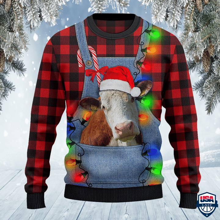 Hereford Cattle Lovers Red Plaid Shirt And Denim Bib Overalls All Over Print Sweater