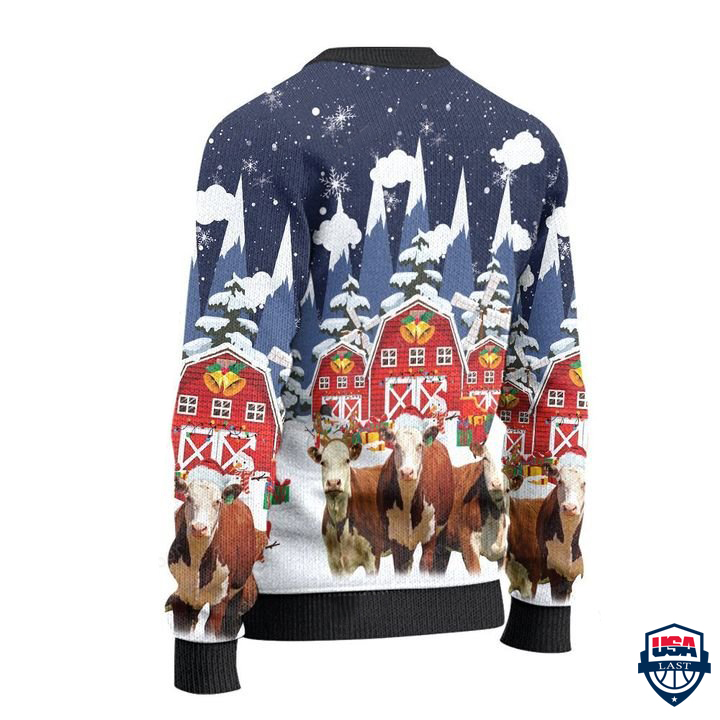 Hereford Cattle Lovers Snow Farm All Over Print Ugly Sweater