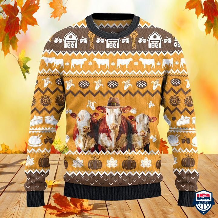 Hereford Cattle Lovers Thanksgiving Gift All Over Print Sweater