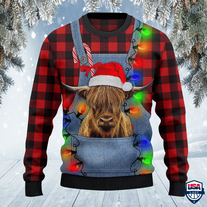 Highland Cattle Lovers Red Plaid Shirt And Denim Bib Overalls All Over Print Sweater
