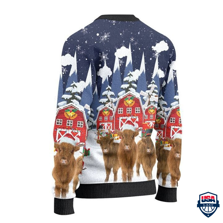 Highland Cattle Lovers Snow Farm All Over Print Ugly Sweater