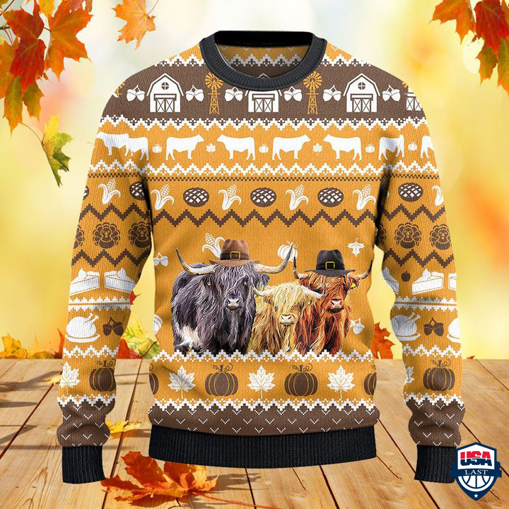 Highland Cattle Lovers Thanksgiving Gift All Over Print Sweater