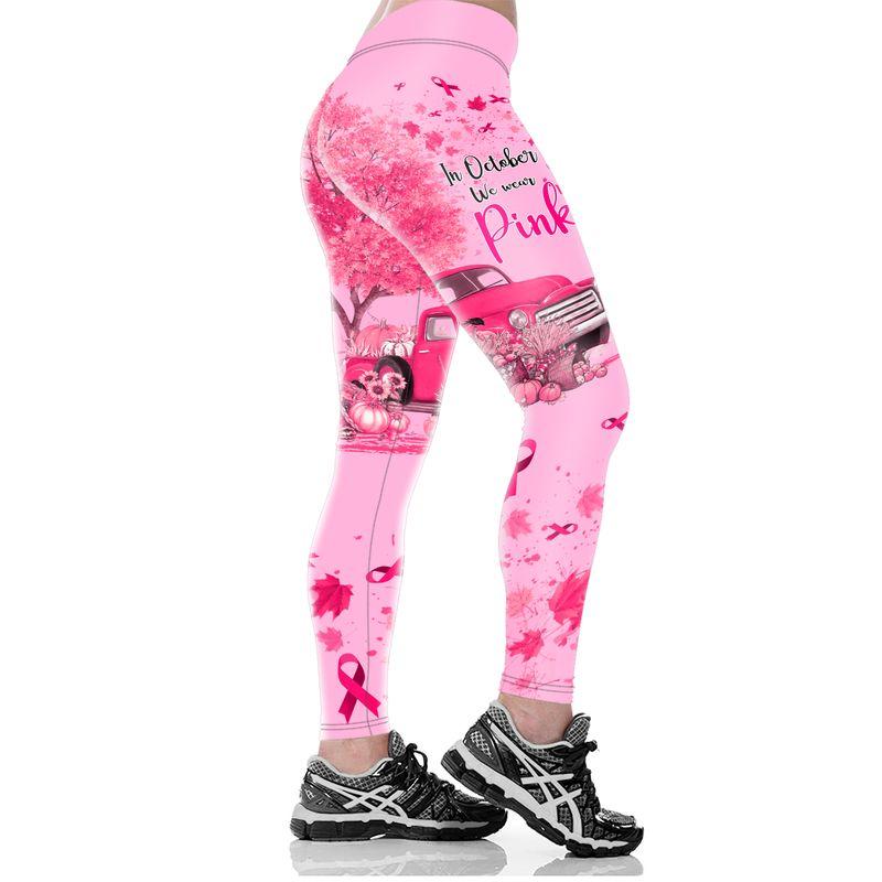 In October We Wear Pink Breast Cancer Awareness Truck Pumpkin 3D Shirt