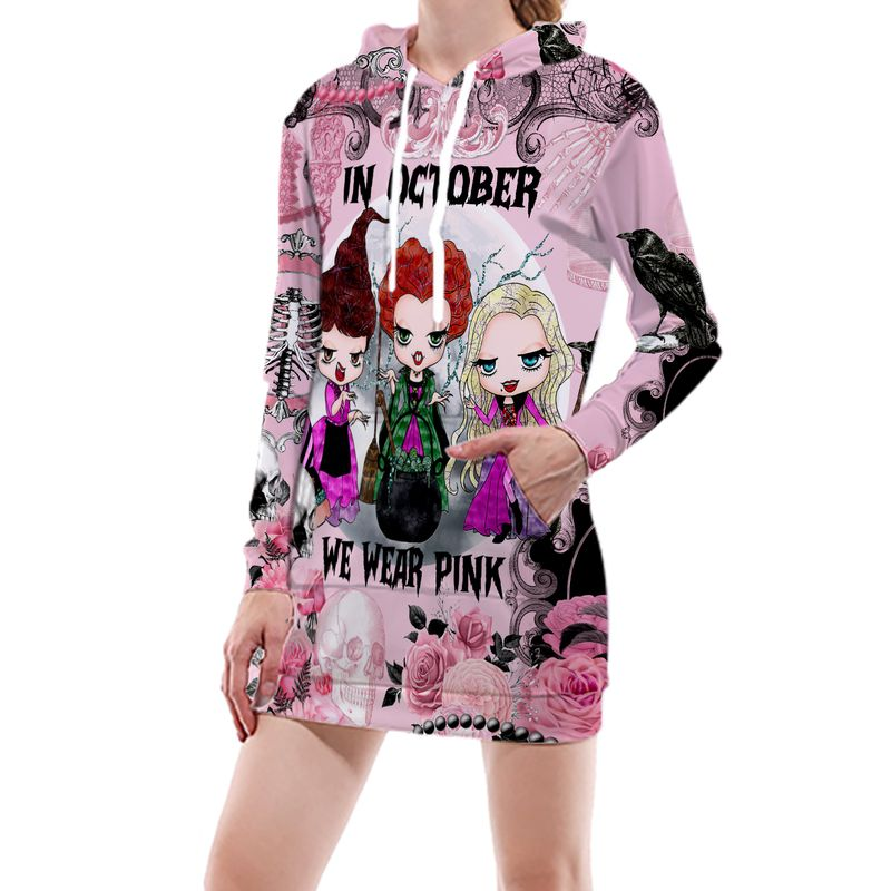 In October We Wear Pink Breast Cancer Awareness Witches Halloween 3D Shirt