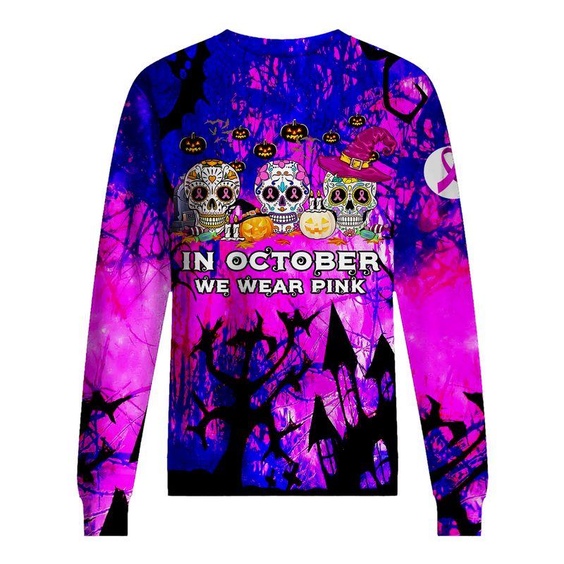 In October We Wear Pink Happy Halloween 3D Shirt