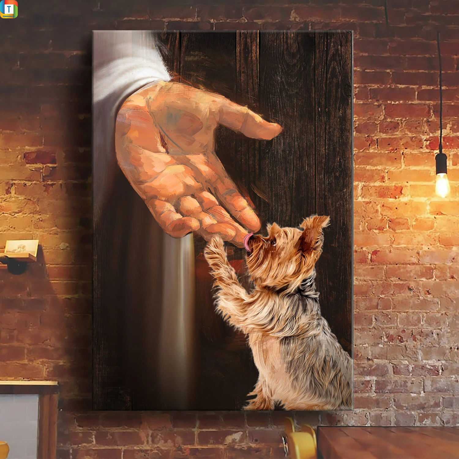 Jesus Yorkshire Terrier in the hand of God canvasJesus Yorkshire Terrier in the hand of God canvas