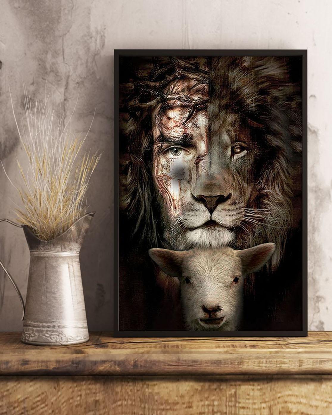 Jesus lion and lamb premium poster wall art