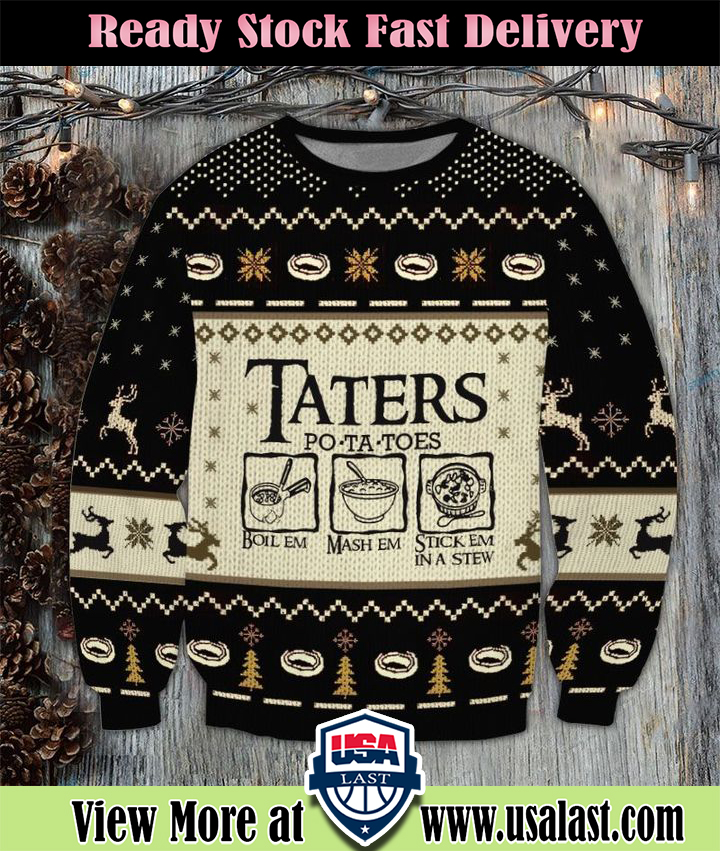 LOTR Taters Potatoes 3D Printed Ugly Christmas Sweater