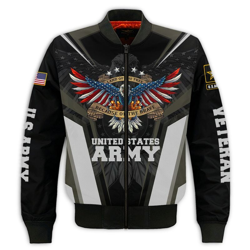 Land of the free because of the brave US army 3d all over printed bomber