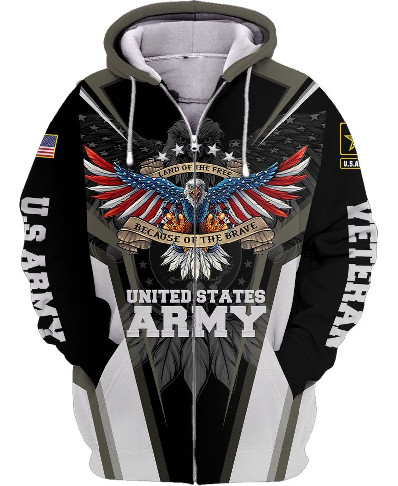 Land of the free because of the brave US army 3d all over printed zip hoodie