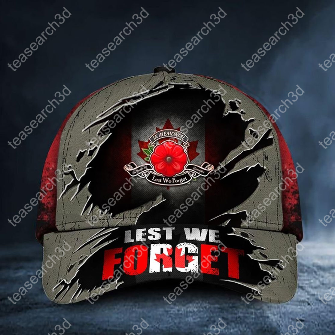 Lest We Forget Poppy Canada Flag Hat Honoring Patriot Veterans Remembrance Day