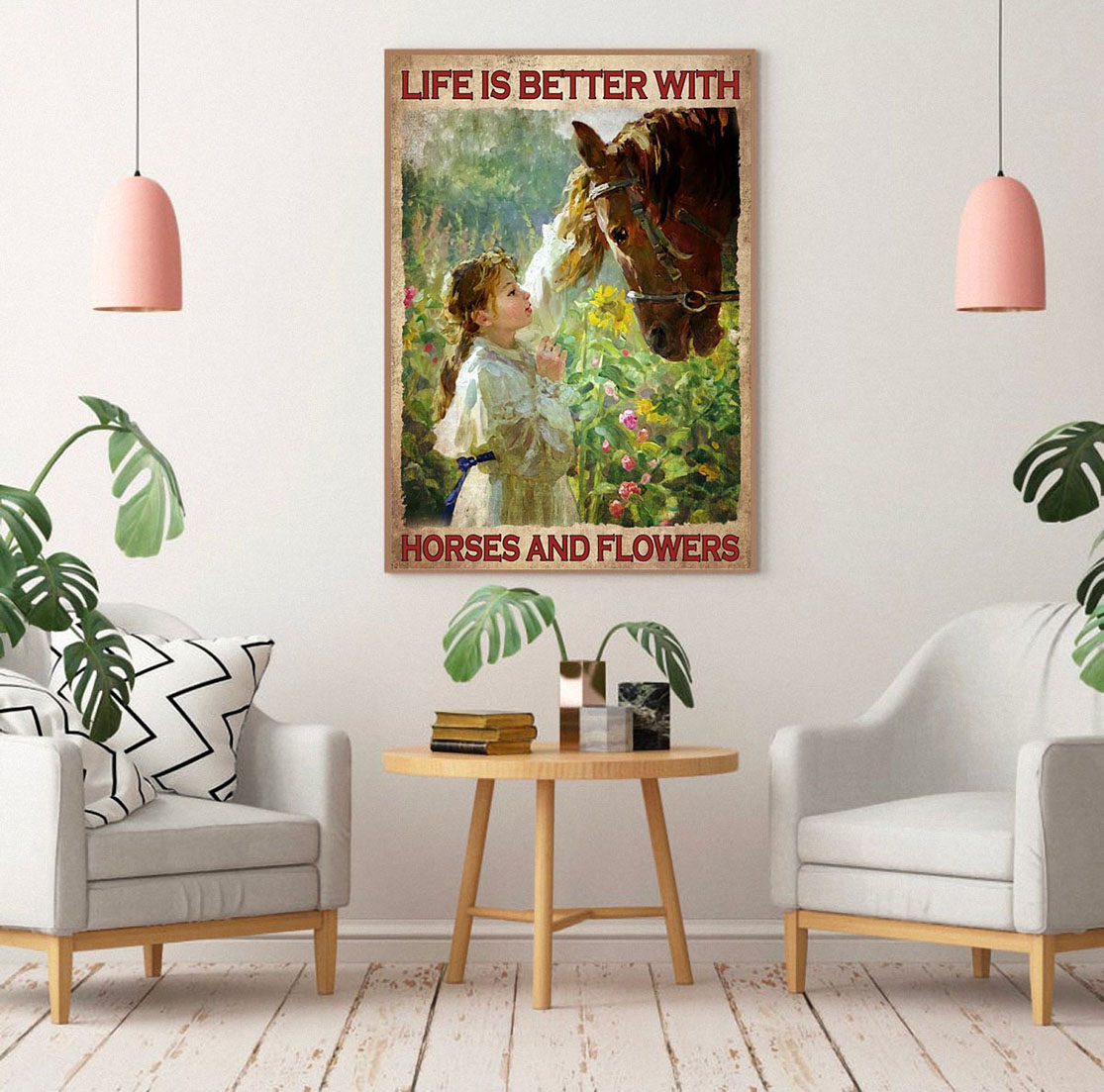 Life is better with horses and flowers poster