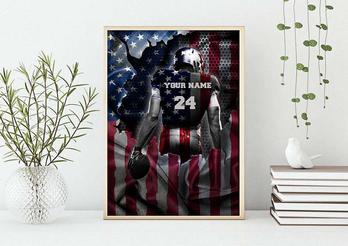 Love Football American flag custom name and number poster