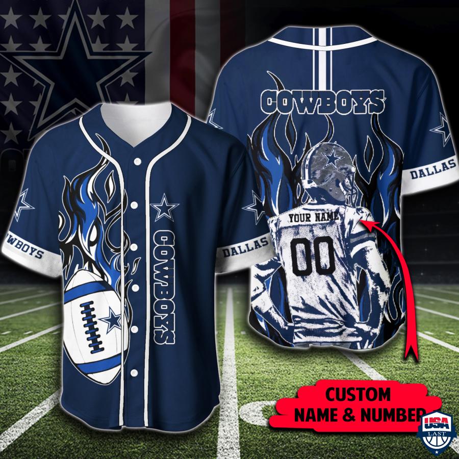 NFL Dallas Cowboys Custom Name And Number Baseball Jerseys Shirt