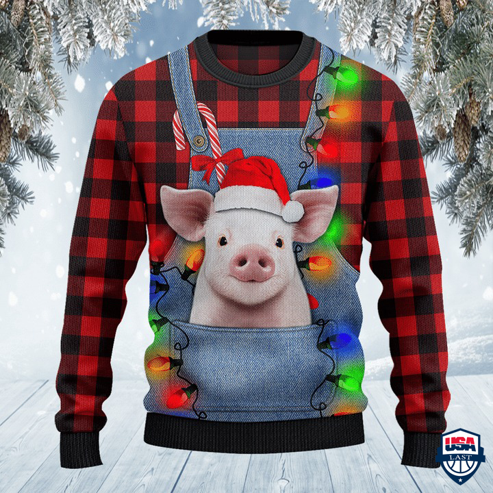 Pig Lovers Red Plaid Shirt And Denim Bib Overalls All Over Print Sweater