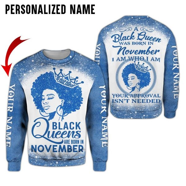 Personalized Name Black Queen Are Born In November 3D All Over Print Sweatshirt