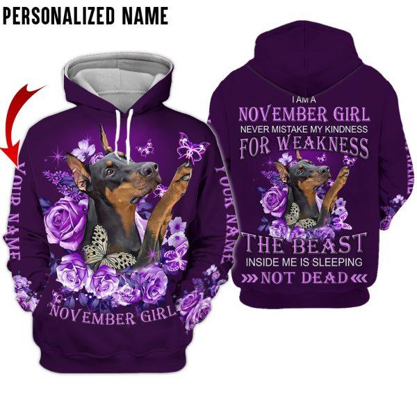 Presonalized Name Dobermann November Girl 3D All Over Print Shirts