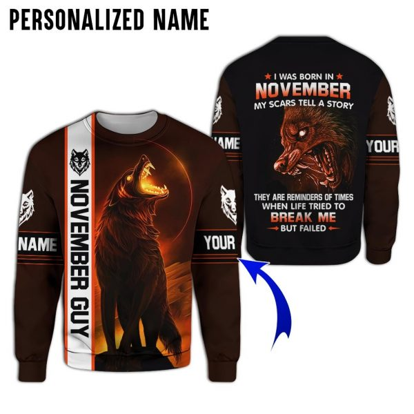 Personalized Name Evil Wolf November Guy 3D All Over Print Shirt