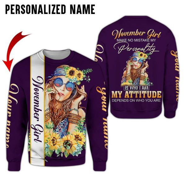 Personalized Name Hippie November Girl 3D All Over Print Shirt