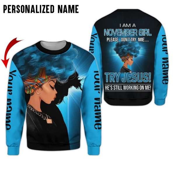 Personalized Name Jesus November Girl 3D All Over Print Shirt
