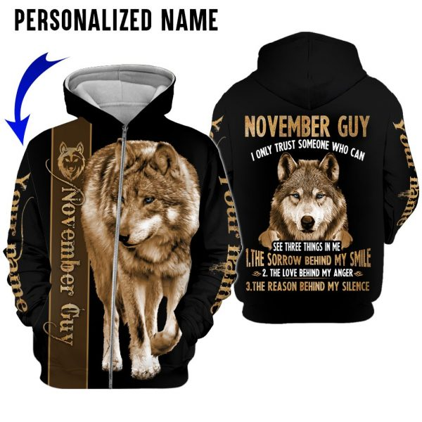 Personalized Name Wolf November Guy 3D All Over Print Shirts