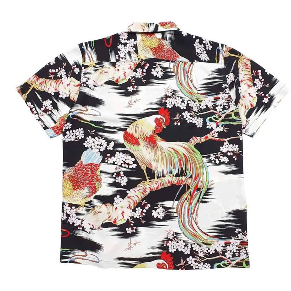 Rayon Crepe Japanese Chicken Onaga Dori Hawaiian Shirt