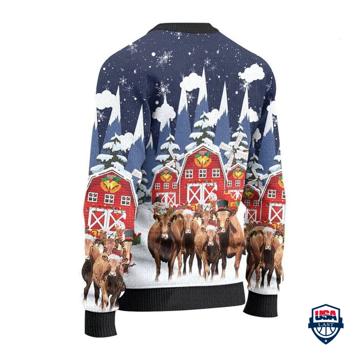 Red Angus Cattle Lovers Snow Farm All Over Print Ugly Sweater