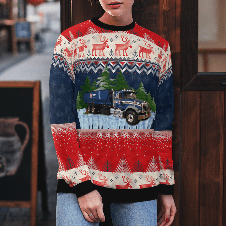 Republic Services Roll Off Truck Ugly Christmas Sweater