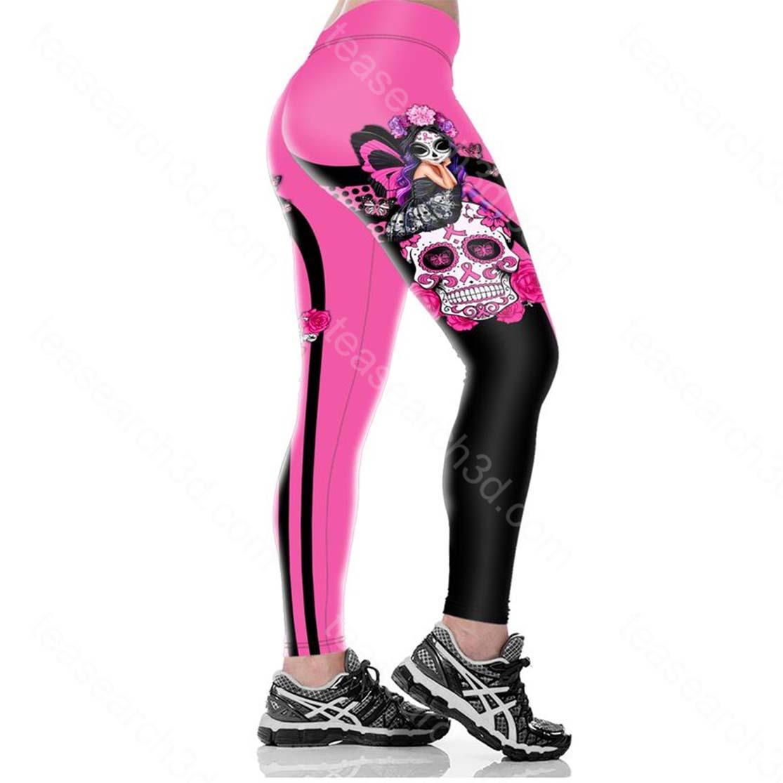 Skull fairy girl Fight like a girl Breast cancer awareness 3d legging