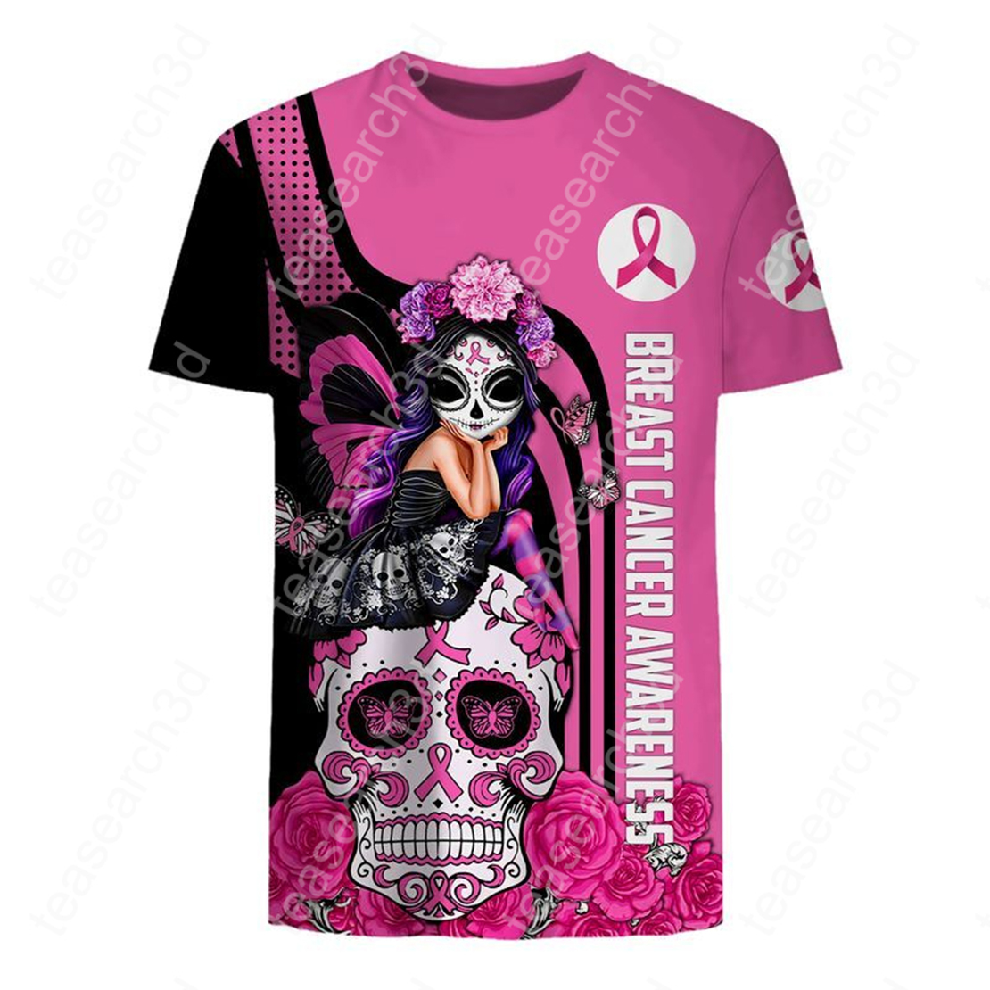 Skull fairy girl breast cancer awareness 3d t-shirt