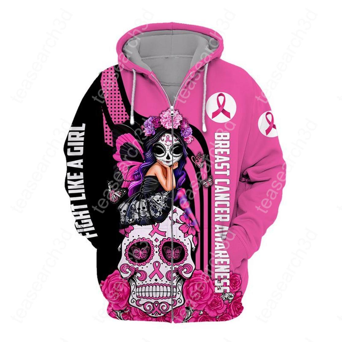 Skull fairy girl breast cancer awareness 3d zip hoodie