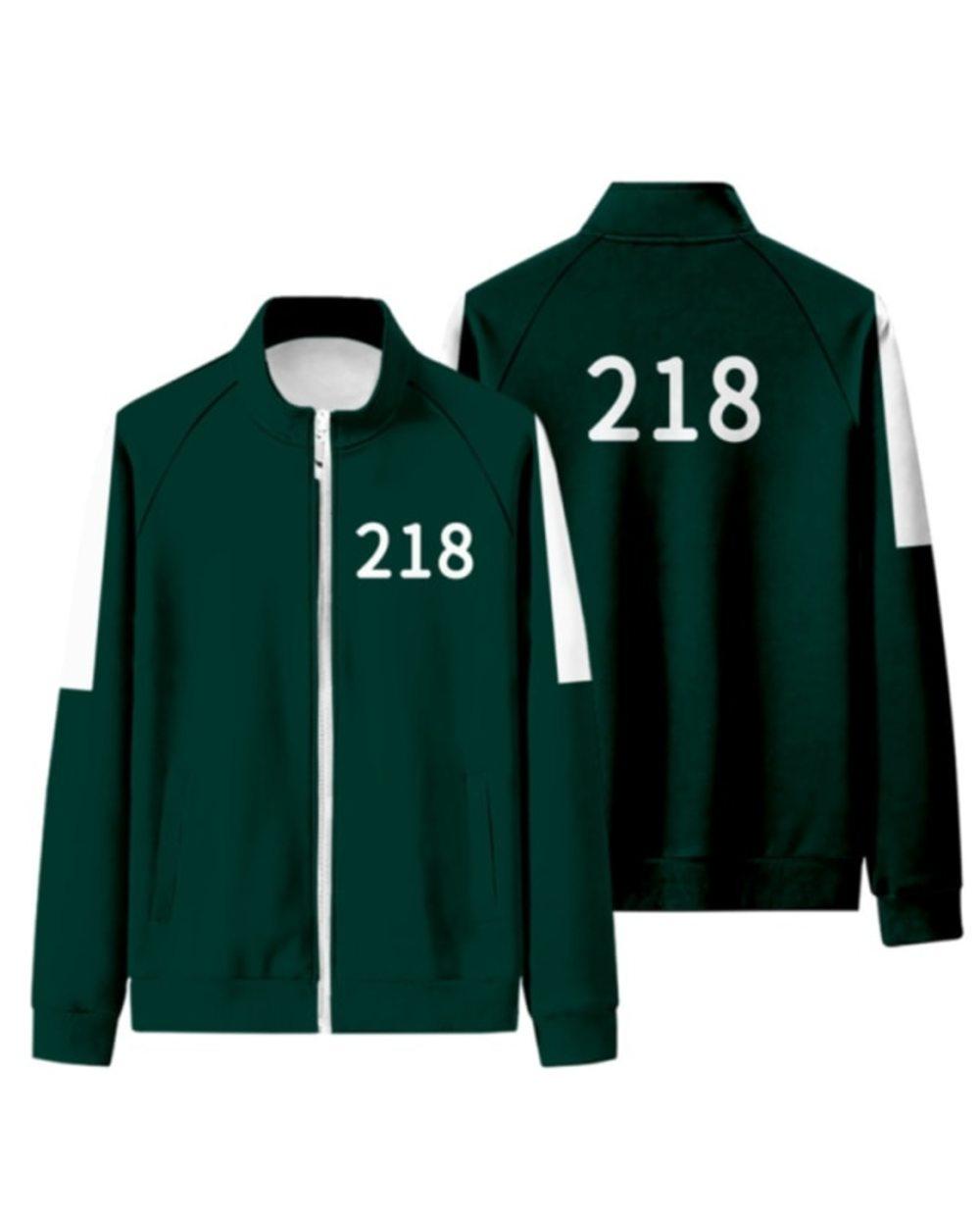 Squid Game Sportswear Cosplay Zip Hoodie Squid Game Tracksuit Green Track Jacket and Track Pants