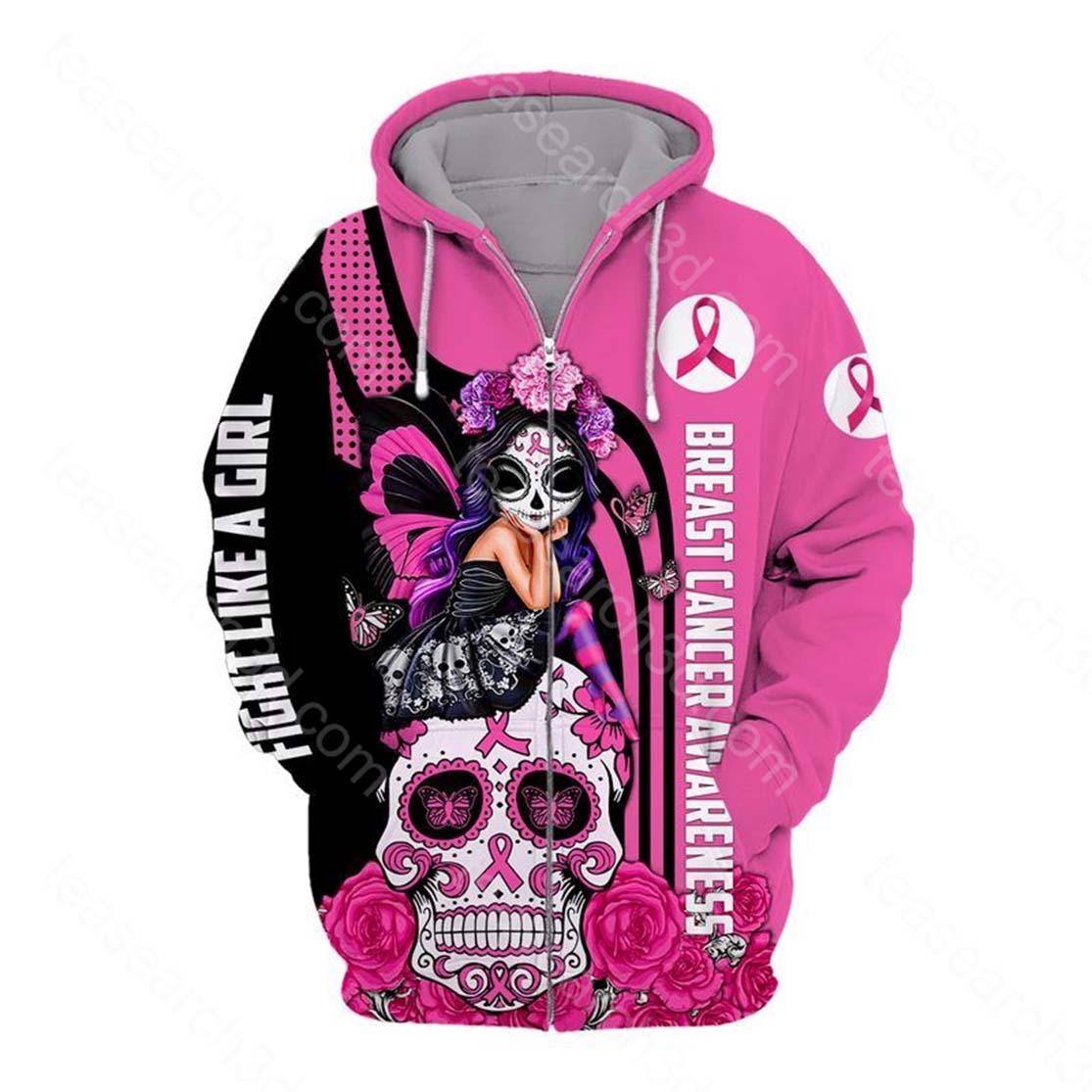 Sugar skull fairy Fight like a girl Breast cancer awareness 3d zip hoodie