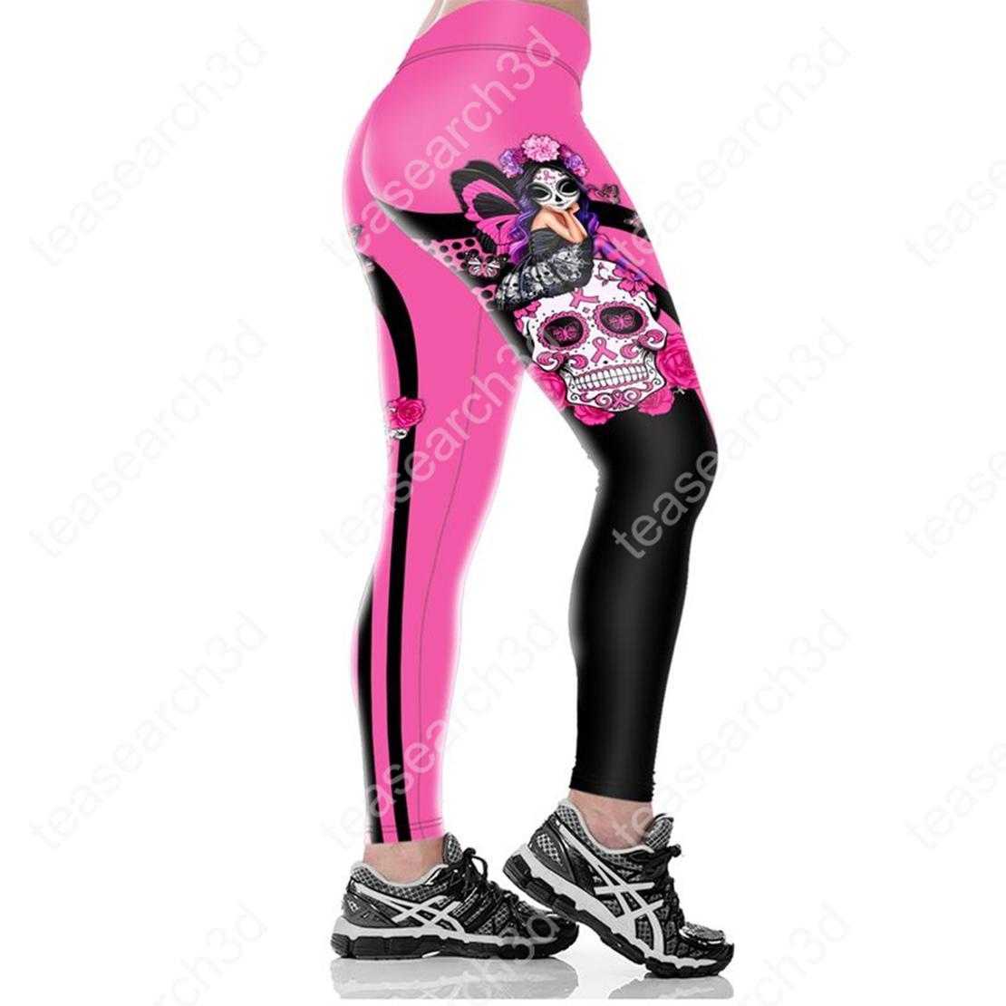 Sugar skull girl breast cancer all over print legging